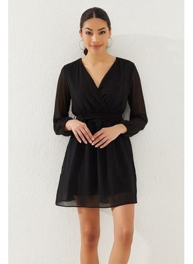 Reyon Kruvaze Yaka Bel Kuşaklı Elbise Siyah Siyah